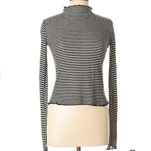 ZARA Black Striped High Neck Knit Top Turtleneck